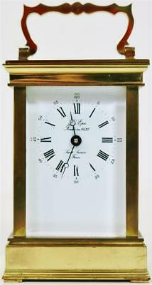 Vintage Lacquered Brass French 8 Day Lepee 8 Day Timepiece Carriage Clock