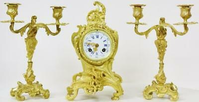 Antique French Bronze Ormolu Rococo Scroll 3 Piece Mantle Clock Garniture Set