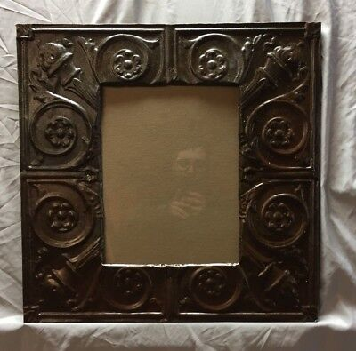 Antique TIN CEILING Metal 11X14 Cream Picture Frame Rust Brown Recycled 385-18C