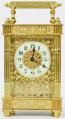 Rare Antique 19thc French 8 Day Gilt Brass Filigree Panel & Glass Carriage Clock