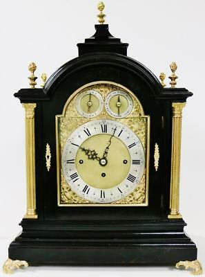 Rare Antique English Ebonised & Ormolu Triple Fusee Musical 8 Bell Bracket Clock
