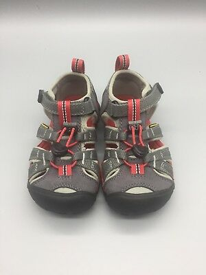 KEEN Seacamp II CNX Toddler Boys Sandals Size 11 Gray/Red Waterproof Shoes