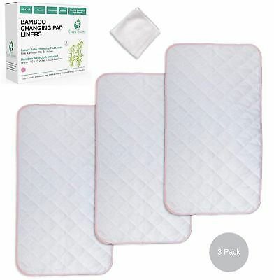 Extra Soft Bamboo Changing Pad Liners (3 Pack) and Washcloth | Pink and White |