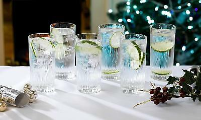 RCR Italian Crystal Fire Highball Glasses / 370ml Hi Ball Tumblers, Set of 6