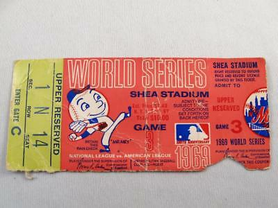 1969 World Series New York Mets Game 3  Shea Stadium Upper Reserved  Ticket Stub