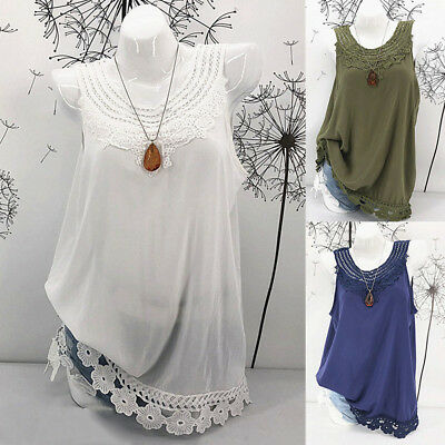 Womens Ladies Cami Sleeveless Lace Splice Casual Hollow Vest Tank Top Shirt