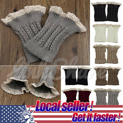 US SHIP Women Crochet Knitted Lace Trim Boot Cuffs Toppers Leg Warmers Winter mr