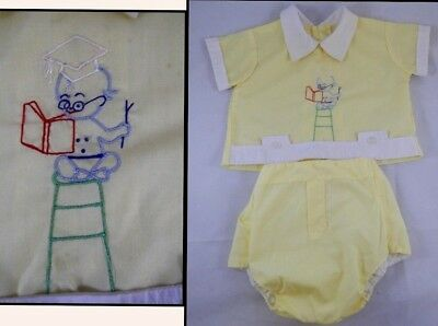 Vintage 1960s 2-piece Outfit 0-3mo Yellow Baby Genius Professor rubber pants