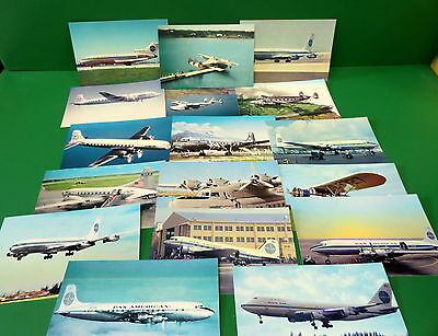 Pan American Airlines Aircraft Postcard Grouping 17 Different