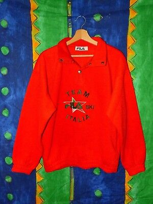 Rarissimo Pile Made In Italy Fila Ski Team Italia Vintage 80'S Tg 46 Medium Over