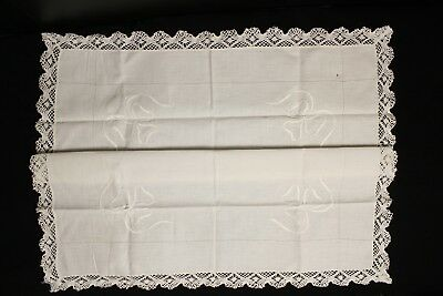 Vintage Handmade Ecru Linen Tablecloth Crochet Lace Edge and Embroidery