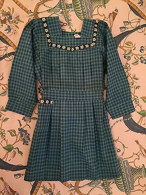 Vintage 1940 Girl French  Apron Smock Plaid green/blue Old stock Back To School