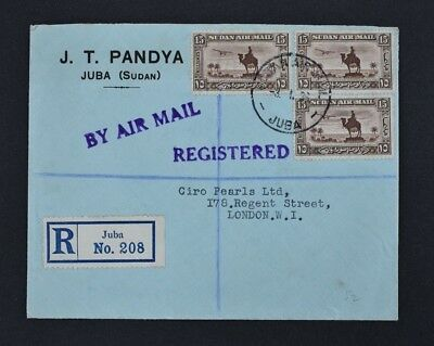 SUDAN, a registered airmail cover to the UK, postmarked Juba 3 1 33.