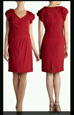 Coast * Carine * Red 3D Flowers Dress Size 14 New With Tags Cocktail Cruise Dres