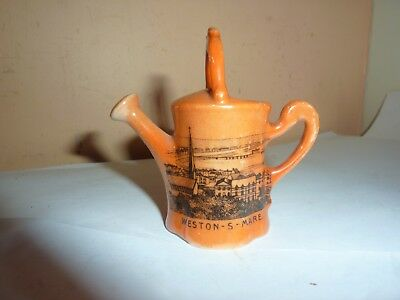Gemma China 6.7Cm Orange Lustre Watering Can With Weston Super Mare Crest/image