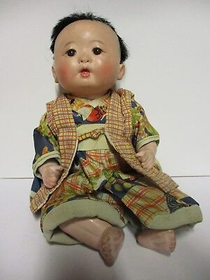 Antique Japanese Composition Oriental Baby Doll Glass Eyes Strung jointed
