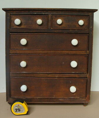 miniature 19th C 5-drawer chest with original paint  *