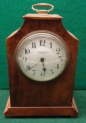 Edwardian Mahogany Mantle Clock - Lion Stamp On The Back Plate - Needs Attention