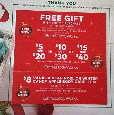 BATH & BODY WORKS 3 Coupons Gift w $10 Purchase $5 Off $10 Off $15 Off $8 Item