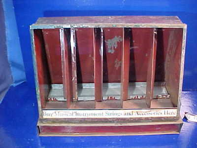Early 20thc MUSICAL INSTRUMENT STRINGS Counter STORE DISPLAY Metal CASE