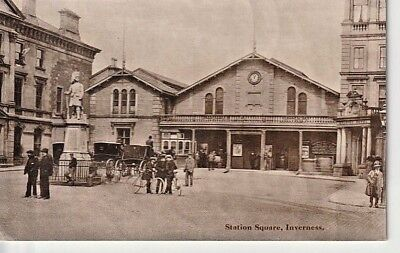 Early INVERNESS RAILWAY STATION - Station Square, coaches & horses, people
