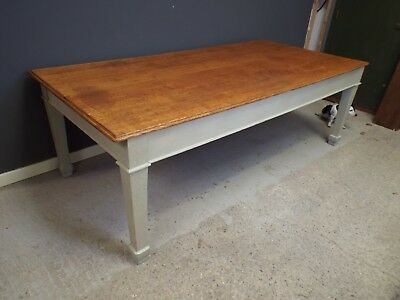 Large Antique Solid Oak Painted Shabby Chic Refectory Dining Table 8ft x 4ft