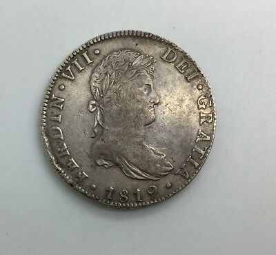 1819 Mo JJ Mexico Ferdinand VII 8 Reales War Of Independence Nice Coin