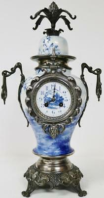 Rare Antique 8 Day French Blue & White Porcelain & Silvered Balloon Mantel Clock