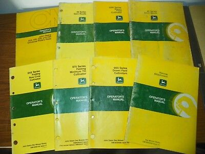 Lot of 8 Vintage John Deere Operator's & Dealer Manuals Pre-Owned