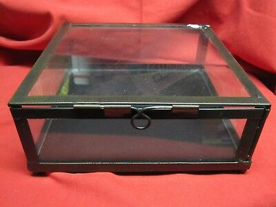 Metal & Glass Hinge Top Display Case Shadow Box Table Top or Wall Hung