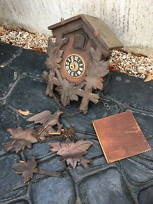 House Clearance Attic Barn Find wooden cuckoo German clock spares Repairs Parts