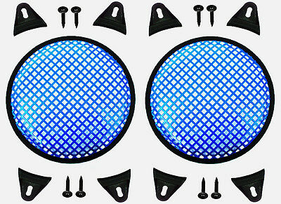 """2X Blue 8"""" inch Sub Woofer Speaker Mesh WAFFLE GRILLS Protective Covers VWLTW"""