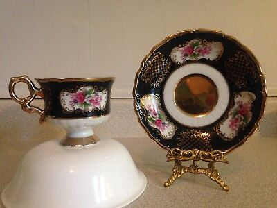 Vintage Shafford Fine Bone China Tea Cup And Saucer, Black With Gold Gilt & Rose