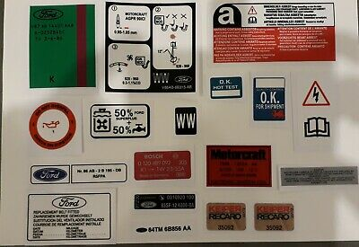 Ford Escort RS Turbo Series 2 Engine Bay Decal Set (early spec)