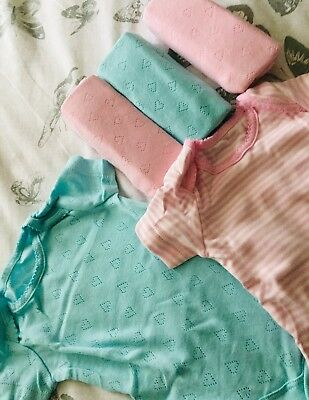 Baby Girl New In Pack Vests Age Upto 1mth Pastels Pack Of 5 X