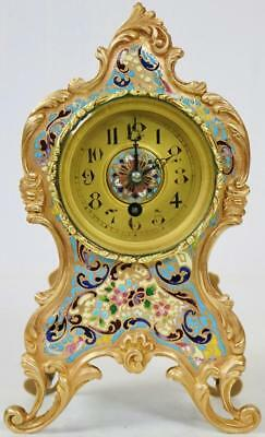 Fabulous Rare Antique French Ormolu & Intricate Champleve Enamel Mantel Clock