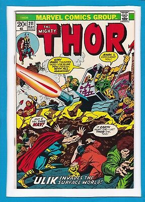 "Mighty Thor #211_May 1973_Very Good_""ulik Invades The Surface World""_Bronze Age!"