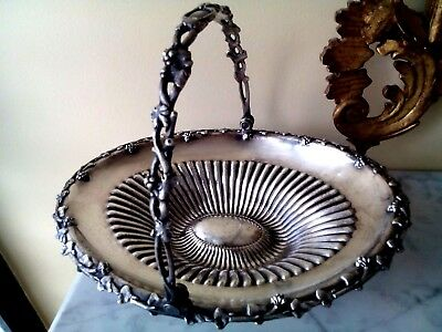 Antique Med & Plated Reed & Barton Silver Plated Vase Basket Sturdy W/ Handle