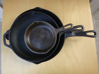 Lot Of 3 Cast Iron Frying Pans Skillet