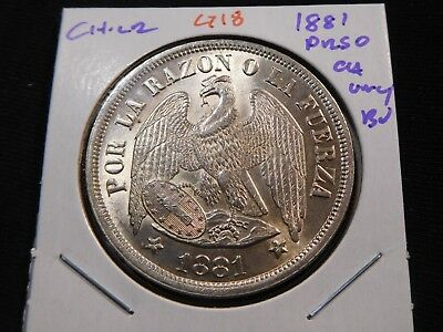 G18 Chile 1881 Peso Choice UNC/BU