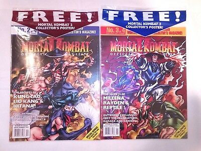 Mortal Kombat 2 II Vintage 1993 Official Collector's Magazine Poster Issue 3 + 4