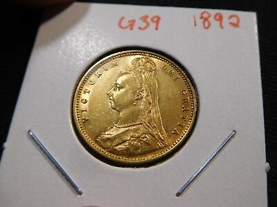 G39 Great Britain 1892 GOLD 1/2 Sovereign