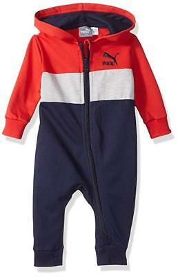 NWT Infant Baby Boy PUMA Hooded Fleece Playsuit Coverall Romper Red/Blue 6-9M