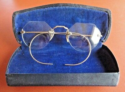 Antique 1/10 12K Gold Ornate Wire Rim Spectacles Eyeglasses & Case Intact Vg