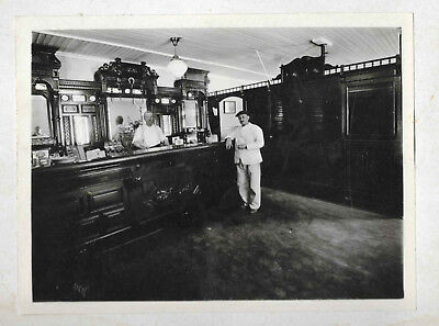 Large Antique Cabinet Photo Old Fashioned Saloon w/Cigar Counter/Fancy Bar c1910