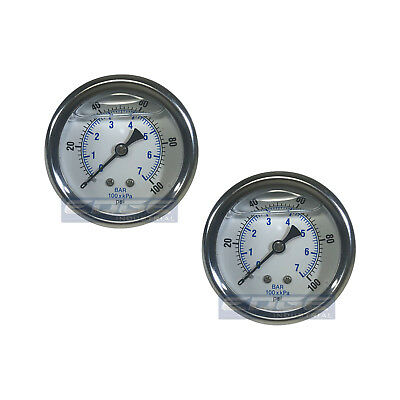 "2 Pack Liquid Filled Pressure Gauge 0-100 Psi, 2.5"" Face, 1/4"" Back Mount Wog"