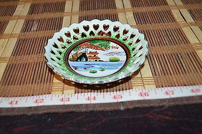 """Porcelain Asian Hand Painted Decorative Wall Plate 4 3/8"""""""
