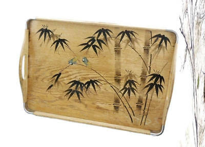 Vintage 1940s Asian Aesthetic Bamboo Wood Gold Bird Serving Tray Art Deco Decor