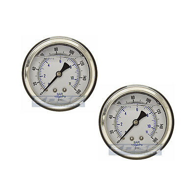 "2 Pack Liquid Filled Pressure Gauge 0-160 Psi, 2.5"" Face, 1/4"" Back Mount Wog"
