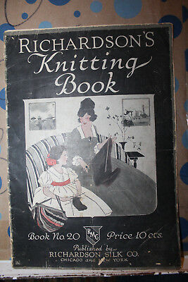Vintage Richardson's Knitting Book No. 20 Silk Co. American Red Cross WWI Rare